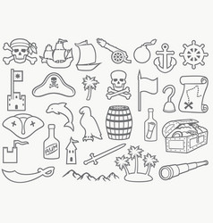 pirates thin line icons set vector image