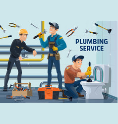 plumber workers with work tools vector image