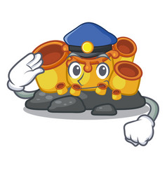Police miniature orange sponge coral in character vector