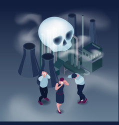 Pollution isometric concept vector