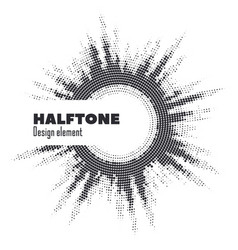 Pop art halftone logo circle design vector