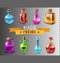 Potion flasks transparent collection vector