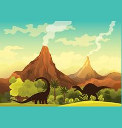 prehistoric landscape - volcano with smoke vector image