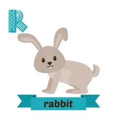 Rabbit R letter Cute children animal alphabet in vector