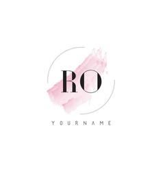Ro r o watercolor letter logo design with vector