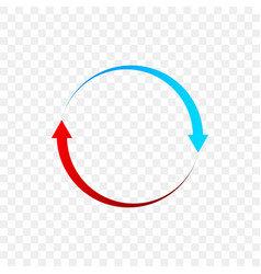 rotation arrows circle icon red and blue vector image