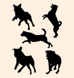 Rottweiler dog silhouette 03 vector