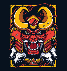 Samurai demon warrior mascot vector
