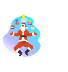 santa claus with wrapped gifts happy new year vector image