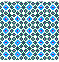 seamless ornament of squares of blue and green vector image