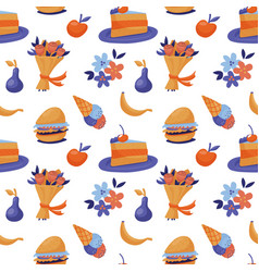 seamless pattern with fast food ice cream fruit vector image