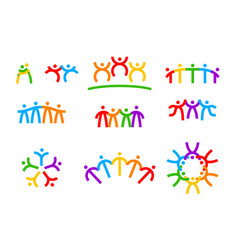 set friendship icons society unity vector image