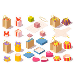 set gift boxes opened and closed colorful vector image