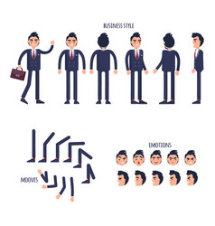 Set of business style face emotions moves flat vector