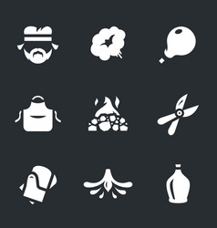 set of glassblower icons vector image