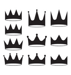 set of ten black crowns for heraldry design on vector image