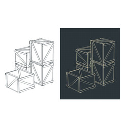 Shipping crates sketches vector