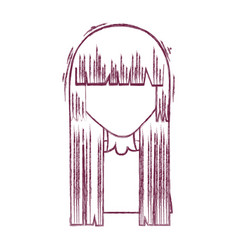 silhouette anime woman with hairstyle and cloth vector image