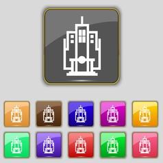 skyscraper icon sign Set with eleven colored vector image
