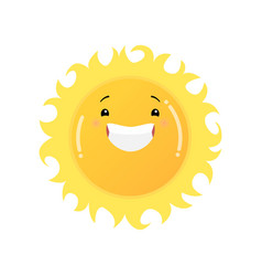 Smiling laughing yellow sun emoji sticker isolated vector