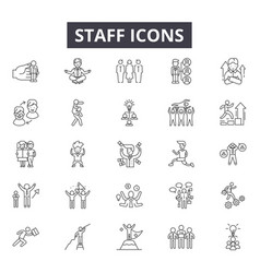 staff line icons for web and mobile design vector image