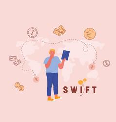 swift society worldwide interbank financial vector image