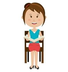 teacher avatar girl reading graphic vector image