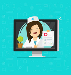 telemedicine flat cartoon vector image