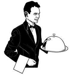 The waiter carrying a main dish vector