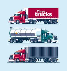 three heavy trucks vector image
