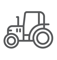 Tractor line icon farm and agriculture vehicle vector