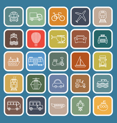 transportation line flat icons on blue background vector image