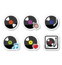 Vinyl record DJ icons set vector image