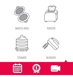 Waffle-iron toaster and blender icons vector