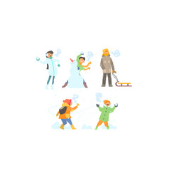 winter activities set making snowman playing vector image