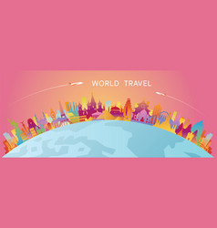 World skyline curve landmarks silhouette colorful vector