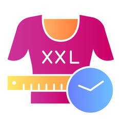 Xxl shirt flat icon large size clothes color vector