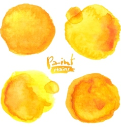 Yellow watercolor painted stains set vector