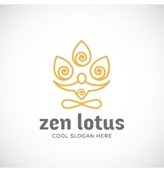 Zen lotus abstract linear style logo vector