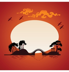 Abstract asian landscape - sunset vector image