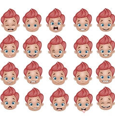 Cartoon funny Little boy various face expressions vector image vector image
