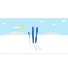 Cartoon winter landscape nature with vector image vector image