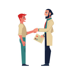 flat male doctor shaking hand to man patient vector image vector image