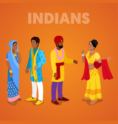 isometric indian people in traditional clothes vector image vector image