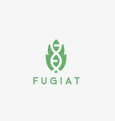 abstract bio tech leaf dna logo design green vector image vector image