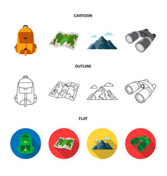 Backpack mountains map of the area binoculars vector