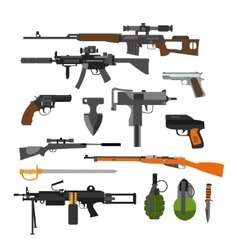 set of army combat weapons Icons isolated vector image