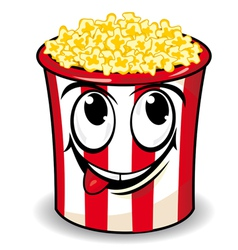 smiling cartoon popcorn vector image
