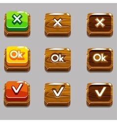 Wood square buttons for game OKYes close vector image