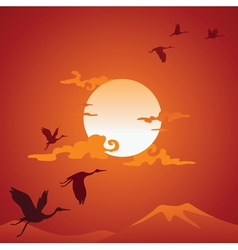Abstract asian landscape with fly birds vector image vector image